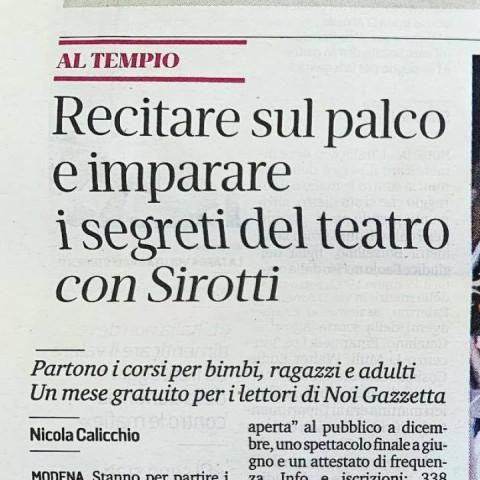 Inaugurazione di Blue Rose Scuola di Teatro - Gazzetta di Modena 3/10/2019
